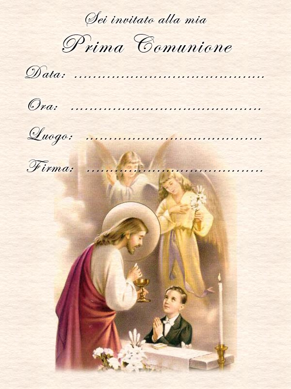 spesso Inviti Prima Comunione - Comunione Bambino NB33