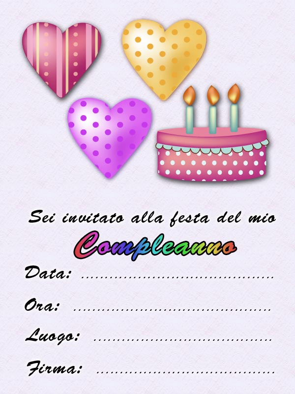 Biglietti inviti festa di compleanno gratis compleanno - Stampabili per bambini gratis ...