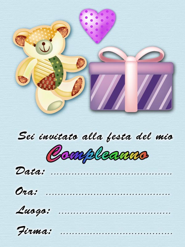 Popolare Biglietti inviti Festa di compleanno Gratis - Compleanno bambini DM66