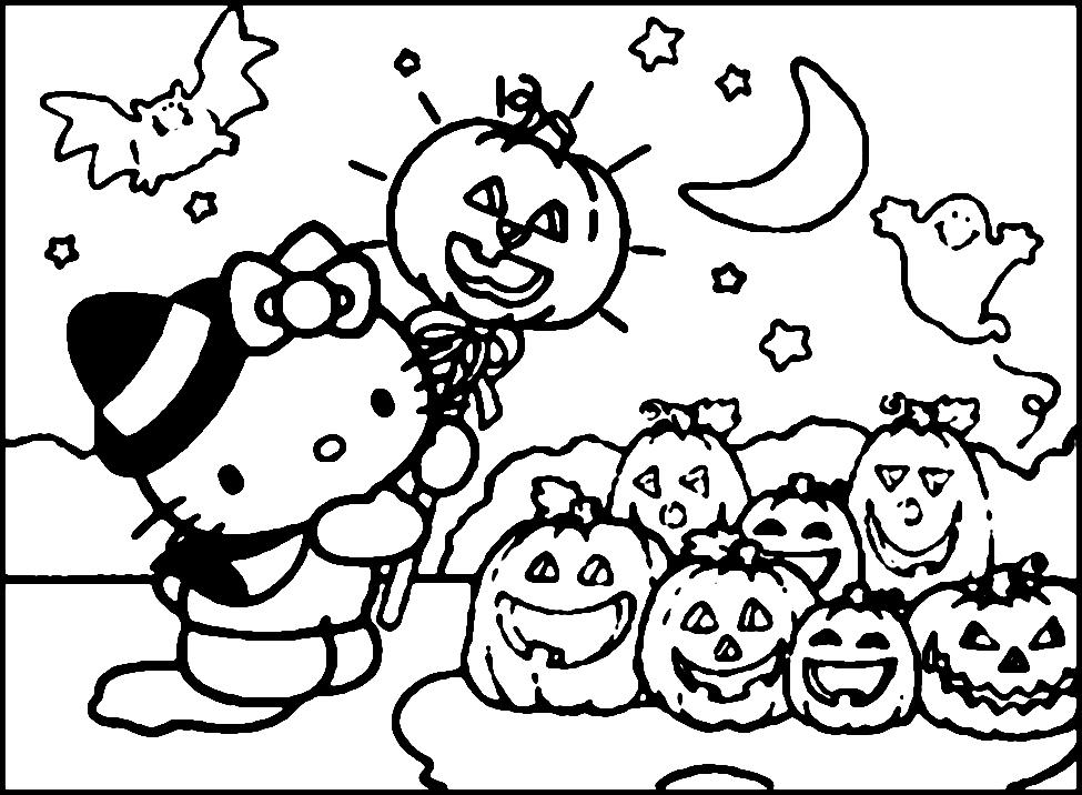 Halloween disegni da colorare hello kitty - Halloween immagini da colorare ...